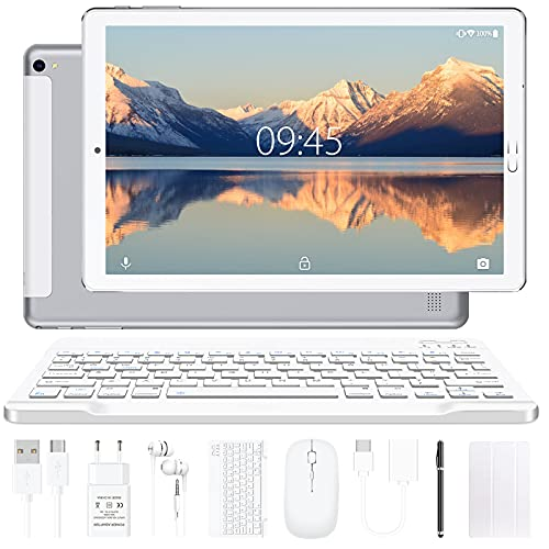 Tablet 10 pollici YESTEL Tablet Android 10.0 con 4 GB di RAM + 64 GB di ROM - WiFi | Bluetooth | GPS, 8000 mAH, con mouse | Tastiera e Cover-Argento