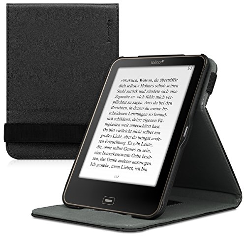 kwmobile Schutzhülle kompatibel mit Tolino Vision 1/2 / 3/4 HD - Hülle e-Reader mit Schlaufe Ständer - - Schwarz