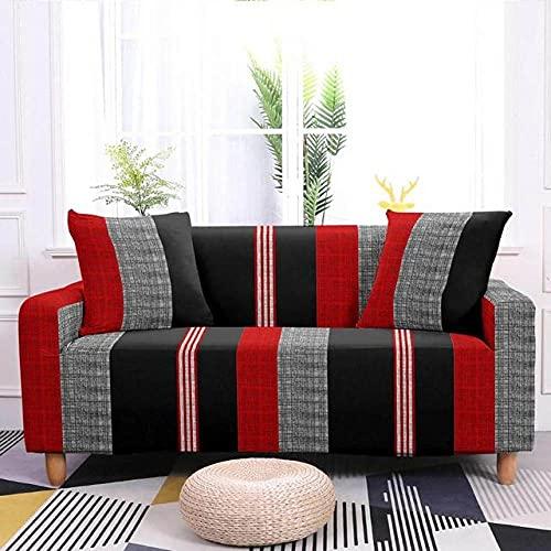 Fundas de sofá elásticas de Rayas geométricas Simples para Sala de Estar Sofá Universal Sipcover Funda Protectora de sofá para el hogar 1-4 plazas, patrón 03,1, plazas 90,140cm