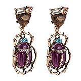 WLLAY Vintage Enamel Bug Insect Beetle Dangle Earrings Charms Crystal Animal Jewelry Gift(Purple)
