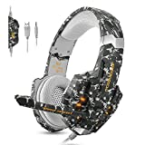 ECOOPRO Gaming Headset for PS4 Xbox One PC, Stereo Gaming Headphones with Noise Cancelling Mic, Bass Surround, LED Light & Soft Memory Earmuffs for PC Mac Nintendo Switch (Camouflage)
