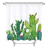 JIAXIN Set Acuarelas Suculentas Plantas Cactus Agaves Decoración de baño Cortina de Ducha de Secado rápido Impermeable 180x180CM