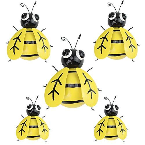 GUIFIER Abeja de hierro un Grupo de 5 Insectos Lindos Coloridos para Colgar Arte de la Pared decoración de césped de jardín esculturas de Pared de Interior al Aire Libre para decoración pared metal
