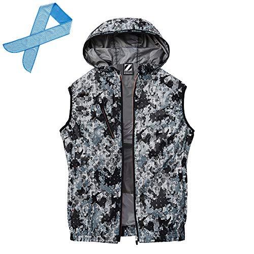 空調服 (服のみ) Z-DRAGON ジィードラゴン 迷彩 ベスト フード付 ポリエステル100% 遮熱-3℃ 74220 色:ブラックカモフラ サイズ:LL オリジナル冷感タオル付