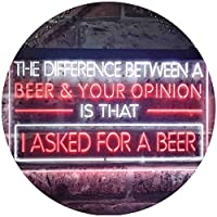 Difference is I Asked For a Beer Bar Dual Color LED看板 ネオンプレート サイン 標識 白色 + 赤色 600 x 400mm st6s64-i3513-wr