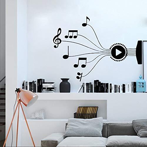 Ajcwhml Nuevas Notas de diseño melodía Musical Pegatinas de Pared Pegatinas decoración del Dormitorio Cantante Rock Jazz Band Art Mural Pegatinas Creativas extraíbles