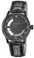 [ステューリングオリジナル]Stuhrling Original 腕時計 Aviator Quartz Transparent Dial Leather Strap Black Watch 650.04 メンズ [並行輸入品]