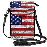 ZZKKO Mini-Umhängetasche mit amerikanischer USA-Flagge, Vintage-Stil, Retro, Umhängetasche, Handy, Geldbörse, Tasche, Handtasche, Leder, für Damen, Freizeit, Alltag, Reisen, Wandern, Camping