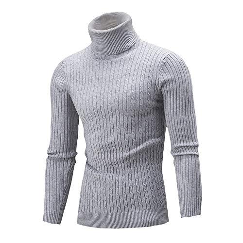 SALEBLOUSE Herren Rollkragenpullover Basic Strickpullover Sweater Slim Fit aus Feinstrick Baumwollmischung Lässig Einfarbig Rollkragen Herren Strickpullover Pullover Winter Sweater Mischen