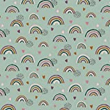 Verhees GOTS Baumwolljersey Rainbows, Mint GOTS 50 x150 cm