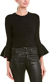 MILLY Womens Bell-Sleeve Cardigan, S, Black