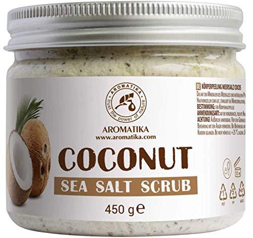 Körperpeeling 450g - Kokos Meersalz Peeling - Salzpeeling für Alle Hauttypen - Feuchtigkeitsspendend - Reich Meersalzmineralien - Antioxidans Schrubben -...