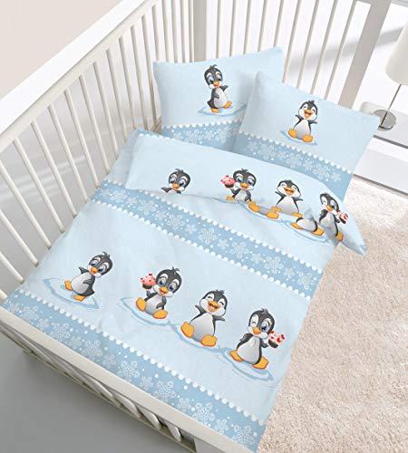 Biber-Bettwäsche Baby Pinguin 40x60 / 100x135 cm