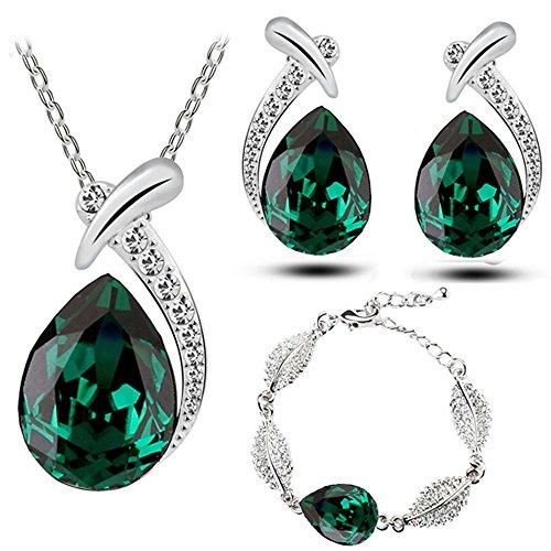 Klaritta Schmuckset mit Ohrsteckern, Armband und Halskette, Smaragdgrün, Tropfenform, S776