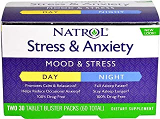 Natrol Stress & Anxiety Day & Night 60 Tablets Pack of 2