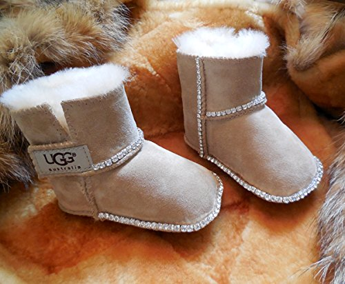 ICY Couture Baby UGGS Boots with Bling (M (12-18 Months), Sand)
