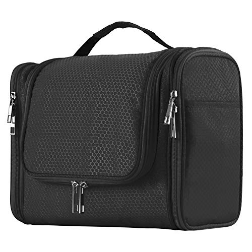 Extra Large Capacity Hanging Toiletry Bag for Men & Women, Portable Waterproof Bathroom Shower Bag, Lightweight Dopp kit Shaving Bag, Sturdy Metal Hook Organizer Makeup Bag (Black)