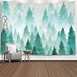 EMMTEEY Misty Forest Tapestry,Tapestries Décor Living Room Bedroom for Home Inhouse by Printed 80x60 Inches for Background Painted with Watercolor Hand Drawn Landscape of Foggy Forest Winter