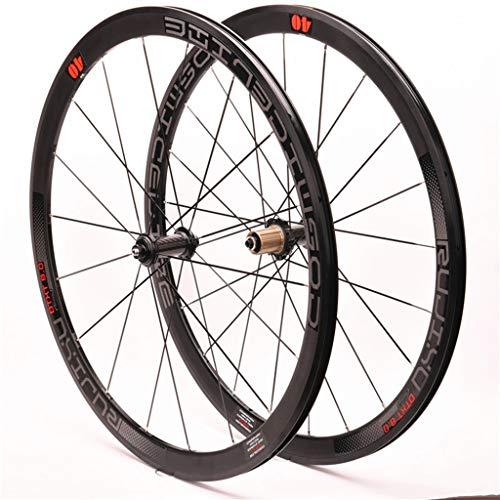 Ciclismo Ruedas Llantas Aleación Doble Pared 40mm Juego Ruedas Bicicleta 700C Para Bicicleta Carretera V- Freno Centro Tarjetas 8-11 Velocidad Fibra Carbon 6 Rodamientos Sellados QR ( Color : Black )