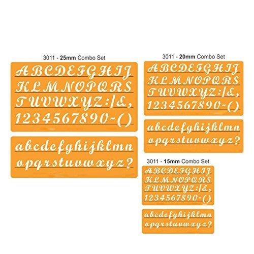 Lettersjablonen om te knutselen, Engelse sjabloon, alfabet, cijfers, tekens (boven- en kleine letters) (15 mm/20 mm/25 mm) (15 mm)