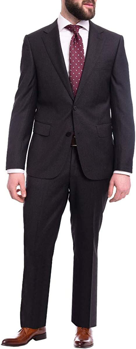 Napoli Modern Fit Solid Charcoal Gray Half Canvassed Wool Cashmere Blend Suit