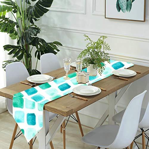 Camino de mesa para aparador, color verde menta náutico, verde jade, acuarela, cuadrados, sirena, para cenas de granja, fiestas de vacaciones, bodas, eventos, decoración - 33 x 70 pulgadas