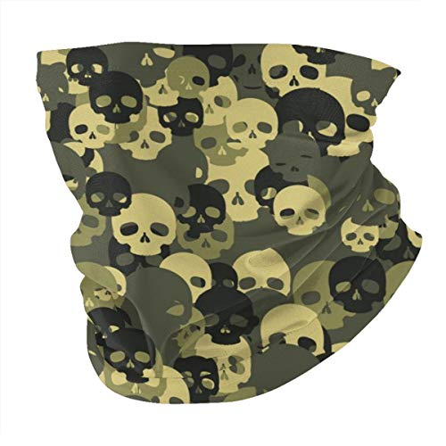 Skull camo Pattern Neck Gaiter Face Scarf Mask-Dust, Sun Protection Cool Lightweight Windproof, Breathable Fishing Hiking Running Cycling