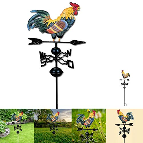 Rooster Wind Vane,Cast Iron Rooster Weathervane,Farmhouse Weathervanem,Metal Iron Cock Wind Vane Retro Weather Vane for Garden Decoration Rooftop Ornament,Garden Patio Yard Ornament (H: 51 Inch)