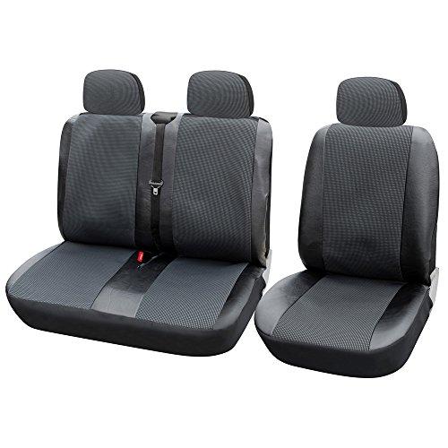 TOYOUN Coprisedili universali per furgoni, camion e camion per auto, set di coprisedili singoli e doppi, in ecopelle, tessuto jacquard, compatibili con airbag, colore: grigio