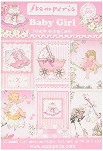 STAMPERIA SBBPC05 kaartenblok 24 vellen - babymeisje, papier, meerkleurig, 11,4 x 16,5 cm (4.5 inch x 6.5