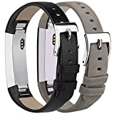 Tobfit Leather Bands Compatible with Fitbit Alta/Alta HR Bands, Genuine Leather Replacement Wristbands, (Black+Suede Grey, 5.5''-8.1'')