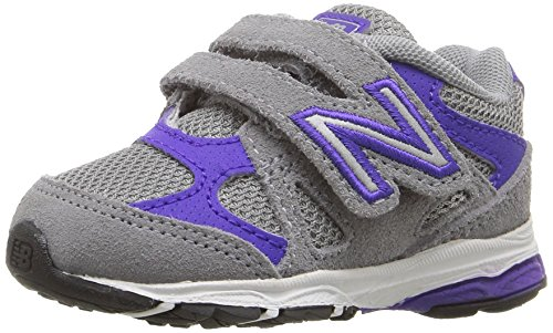 New Balance Girls' KV888 Running Shoe, Grey/Purple, 5 Wide US Infant