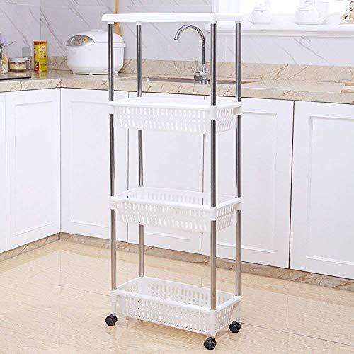 MJY Wagen Faltbarer tragbarer Multifunktions-Klapp-Einkaufswagen, herausnehmbarer Kunststoffspeicher mit Rollenaufbewahrung, 4-reihige Aufbewahrungswagen für den Küchenbereich, Badezimmer, Kühlschran
