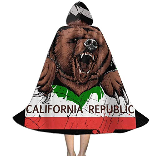 Kids Halloween Cloak With Hood American California Bear Flag Funny Paw...