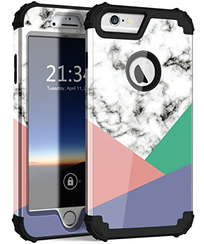Hocase iPhone 6s Plus Case with Marble Design, Heavy Duty Shockproof Protection Anti-Scratch Plastic Hard Shell+Silicone Rubber Phone Case for iPhone 6 Plus/6s Plus - Gloss Marble / 3-Color