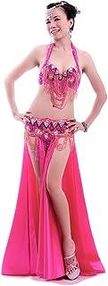 ROYAL SMEELA Bauchtanz kostüm Damen Bauchtanz BH gürtel Rock Strass Sexy Kleid Flamenco Rock BH Gürtel Maxirock Anzug Karneval Tanzen Langer Röcke BH und Bund Set