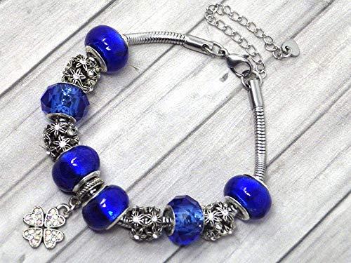 Pulsera con dijes azul marino para mujer de acero inoxidable con colgante de trébol con cristales