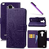 COTDINFOR LG G4 Stylus Hülle für Mädchen Elegant Retro Premium PU Lederhülle Handy Tasche im Bookstyle mit Magnet Standfunktion Schutz Etui für LG Stylo / LS770 Clover Purple SD