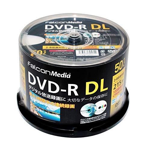FalconMedia 1回録画用 DVD-R DL CPRM 215分 50枚 ホワイトプリンタブル 片面2層 2-8倍速 BE071