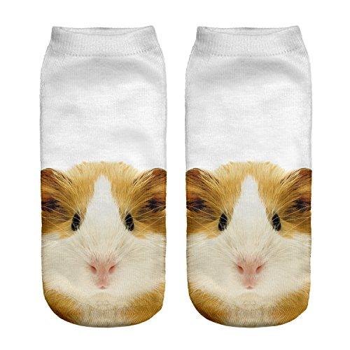 Kinder Mädchen Jungen Socken Full Print Low Knöchel Mops Hund Joggen Laufen Fitness Gym Sport Yoga Sommer Funky Tier 3D Mode Socken Gr. Small, Meerschweinchen