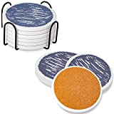 Coasters for Drinks Absorbent with Holder, Stone Coaster with Cork Backing Set of 6 - Great Gift for Birthday, Housewarming, Room Decor, Bar, Holiday Party (White) (B-Blue Full Moon)