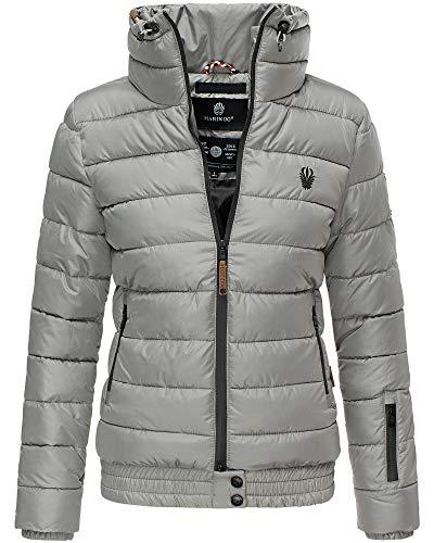 Marikoo Jacke Damen Stepp Jacke Warm Outdoor Streetwear Fleecetaschen PSN133 (Small, Grau)