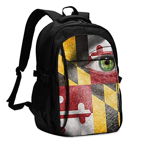 IUBBKI Green Eye to Show Maryland Support Office & School Supplies with USB Data Cable and Music Jack Laptop Bags Computer Notebook 18.1X13.3 inch