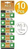 DNA 10 pilas de botón AG3/LR41/192/392 con larga vida útil (fecha de caducidad)