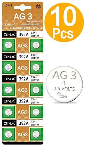 DNA 10 pilas de botón AG3/LR41/192/392 con larga vida útil (fecha de...