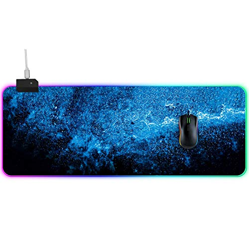 RGB Gaming Mouse Pad LED Extra Extended Large Size Mousepad Professional Waterproof Computer Keyboard Desk Mat with Anti-Slip Rubber Base for Gamer, Esports Pros, Office Working (Star Sky)