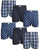 Lucky Brand Men's Underwear - 100% Cotton Woven Boxers (6 Pack), Dress Blues Plaid/Outer Space/Dark Denim Print, Size Large'