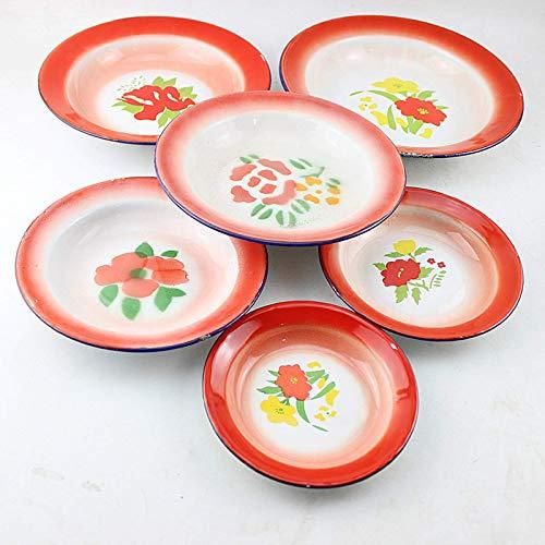 Plato de esmalte Plato de esmalte nostálgico Plato de esmalte retro Plato de fruta esmaltado (un paquete)