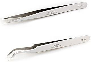 LANKIZ Tweezers for Eyelash Extensions - 2pcs Staight and Curved Pointed Eyelash Extension Tweezers Set Long Precision Lash Tweezers for 3D 5D Individual Mink Eyelash Extensions