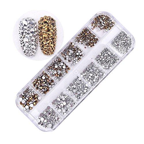MUUZONING 3D StrassVerschiedene formen für Nail Art Dekorationen,Lange Box Nail Perlen Glitter Kristalle Nagel Dekoration Großer Edelstein:#7